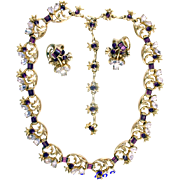 SALE 28978a - Vintage Hollycraft 1955 Lavender & Purple Stones Choker & Earrings Set