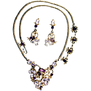 SALE 28986a - Vintage Hollycraft 1955 Lavender & Purple Stones Necklace & Earrings Set