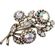 SALE 29077a - Vintage Hollycraft Clear AB Color Stones 3 Bud-Flower Shaped Brooch/Pin