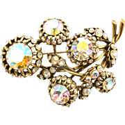 SALE 29103a - Vintage Hollycraft Clear AB Color Stones 5 Bud-Flower Shaped Brooch/Pin