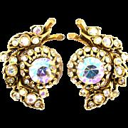 SALE 29111a - Vintage Hollycraft Clear AB Rhinestones 1 Bud-Flower Clip Earrings