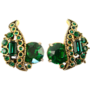 SALE 29141a - Vintage Hollycraft 1955 Emerald Green Stones Headlight Clip Earrings