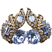 SALE 29171a - Vintage Hollycraft 1955 Light Sapphire Stones Headlight Clip Earrings