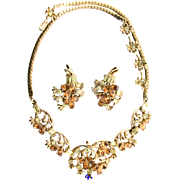 SALE 29180a - Hollycraft 1955 Yellow & Topaz Rhinestones Necklace & Earrings Set
