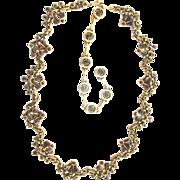 SALE 29211a - Vintage Hollycraft 1954 Red Garnet Necklace - Choker - Dog Collar