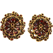 SALE 29217a - Vintage Hollycraft 1954 Red Garnet Stones Oval Shaped Clip Earrings