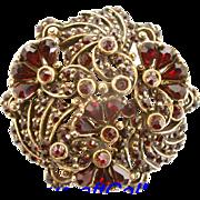 SALE 29220a - Vintage HOLLYCRAFT 1954 Red Garnet Stones Round Brooch/Pin