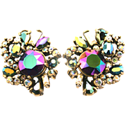 SALE 29421a - Hollycraft 1956 Peacock AB & Clear AB Rhinestones Earrings Set