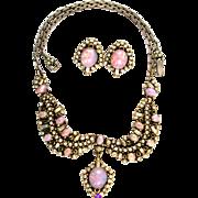 SALE 29476a - Hollycraft Opal Cabochons & Diamante Stones Drop Necklace & Earrings Set
