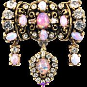 SALE 29486a - Hollycraft Opal Cabochons & Diamante Rhinestones 3 Dangles Brooch/Pin