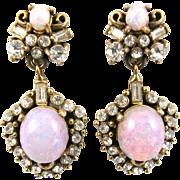 SALE 29503a - Hollycraft Opal Cabochons & Diamante Stones Drop Earrings Set