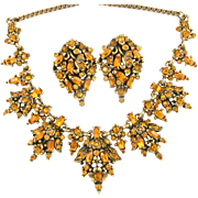 SALE 29540a - Hollycraft 1950 RARE Topaz Color Rhinestones Necklace & Earrings Set