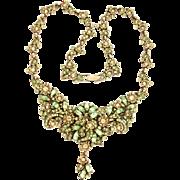 SALE 29591a - Hollycraft 1950 Jonquil Flower & Oval Peridot Stones Dangle Necklace