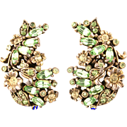 SALE 29612a - Hollycraft 1950 Jonquil Flower & Oval Peridot Stones Clip Back Earrings