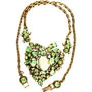 SALE 29636a - Hollycraft 1951 Peridot Green Stones & Opal Cabochons Heart Necklace