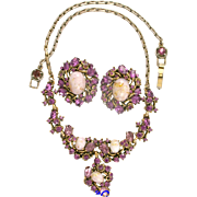 SALE 29658a - Hollycraft 1951 Amethyst Stones & Opal Necklace & Earrings Set