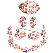 SALE 29681a - Hollycraft 1957 Pink Flower Lucite & Stones Necklace Pins Earrings Set
