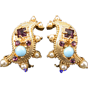 SALE 29699a - HOLLYCRAFT 1951 Turquoise/Amethyst/Faux Pearls Clip Earrings