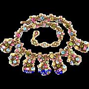 SALE 29756a - HOLLYCRAFT 1957 Multi Pastel Scrolled BIB Style HOLLYCRAFT Necklace