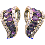 SALE 29768a - Vintage Hollycraft 1957 Purple & Lavender Color Stones Clip Earrings