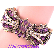 SALE 29815a - Hollycraft 1957 Purple & Lavender Rhinestones Double Hinged Bracelet