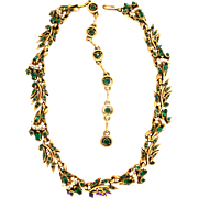 SALE 29823a - Vintage Hollycraft 1956 Green Emerald Stones Wired Seed Pearls Choker - Dog ...