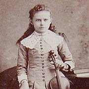 SALE 1890s Victorian Girl w/ Violin ~ Cabinet Card Photograph