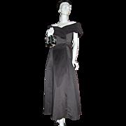 SALE 1980s Jordan ~ ILGWU Off-the-Shoulder Black Formal Dress/Gown
