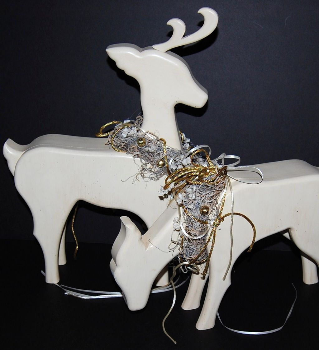 1980s Large Wood Christmas Reindeer Statues ~ Set of 2 ...