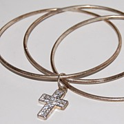 SALE 1980s Silverplate Bangles w/ Rhinestone Cross
