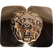 SALE 1980s Accessocraft ~ Heavy Goldtone Lion Belt Buckle