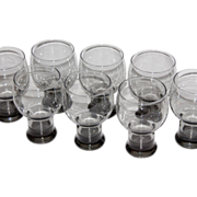 SALE 1970/80s Smoky Black Mod Pedestal Glasses ~ Set of 8