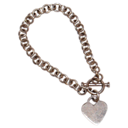 SALE Sterling Silver Heart Charm Toggle Clasp Link Bracelet