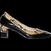 SALE 1960s Turian ~ Black Patent Leather & Snakeskin Heels