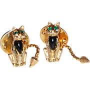 SALE 1950s Ballou ~ Pair of Rhinestone Cat Pins w/ Moving Tails