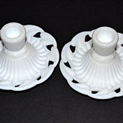SOLD 1950/60s Fostoria ~ White Milk Glass Candle Holders w/Labels