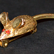 SALE Red Rhinestone Mouse w/ Long Movable Tail Scatter Pin