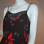 SALE 1980s Joseph Ribkoff ~ Black & Red Floral Camisole ~ ILGWU