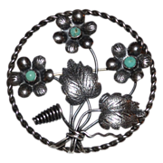SALE 1950/60s Turquoise & Silver Floral Brooch/Pin