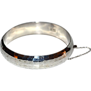 SALE 18G Sterling 925 Wide Bangle w/ Safety Chain