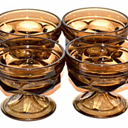 SALE 1970s Set of 4 Brown Glass Ice Cream Dishes