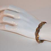SALE 1970s Sterling Vermeil Tri-Color Braided Link Bracelet