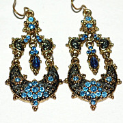 SALE VTG Etruscan Style Blue Rhinestone Dangle Earrings