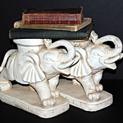 SALE Pair of Heavy Concrete Elephant Planters