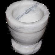 SALE Heavy Swirled White & Black Marble Mortar