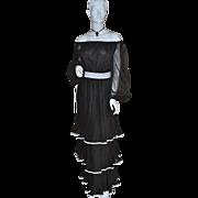 SALE 1970s Jack Bryan ~ Black Triple-Tiered Dress w/ Original Tag