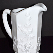 SOLD Westmoreland ~ Paneled Grape Milk Glass Pitcher
