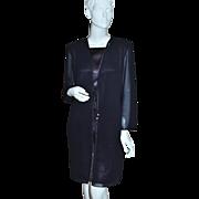 SALE 1980s Ann Hobbs ~ Black Chiffon Rhinestone Jacket Style Dress