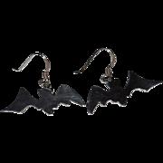 SALE 1980s Sterling Bat Modernist Style Dangle Earrings