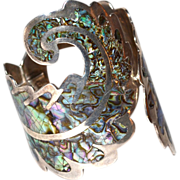 SALE Los Ballesteros ~ Abalone Inlay Scrollwork Sterling Cuff Bracelet